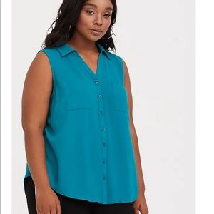 HARPER - TEAL BLUE KNIT TO WOVEN SLEEVELESS BLOUSE